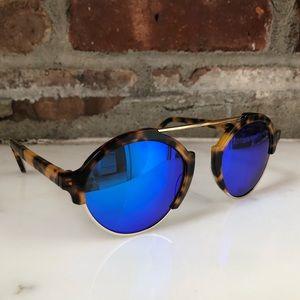 "Illesteva Sunglasses ""Milan 3"" Tortoise and Blue"